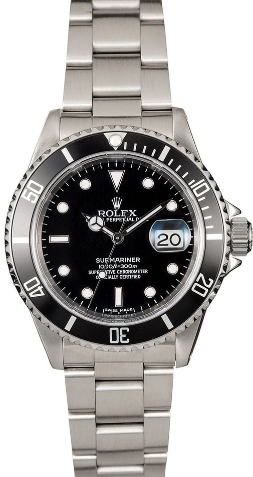 Black Rolex Submariner 16610 Steel Oyster TT