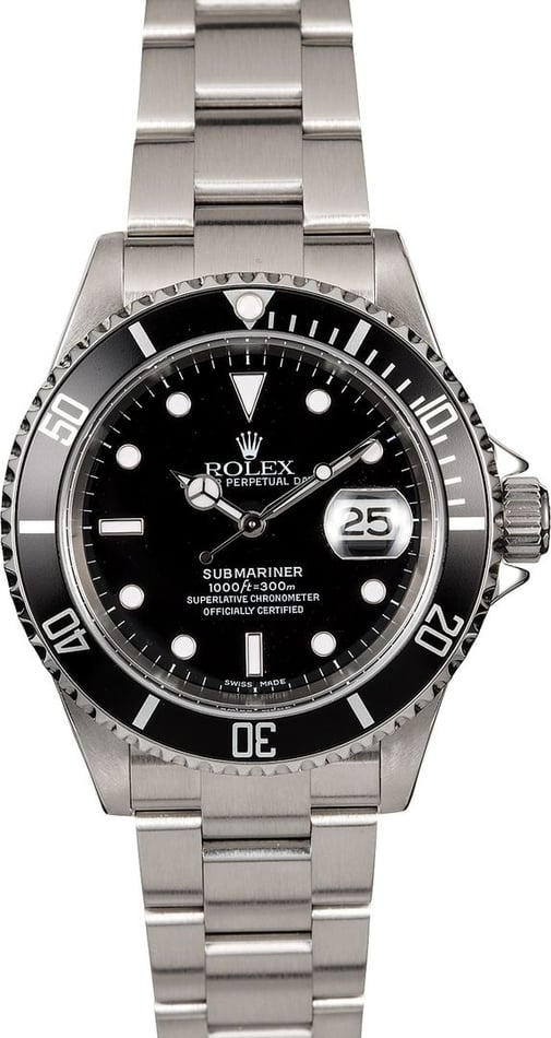Men's Rolex Submariner 16610 Black Dial and Bezel