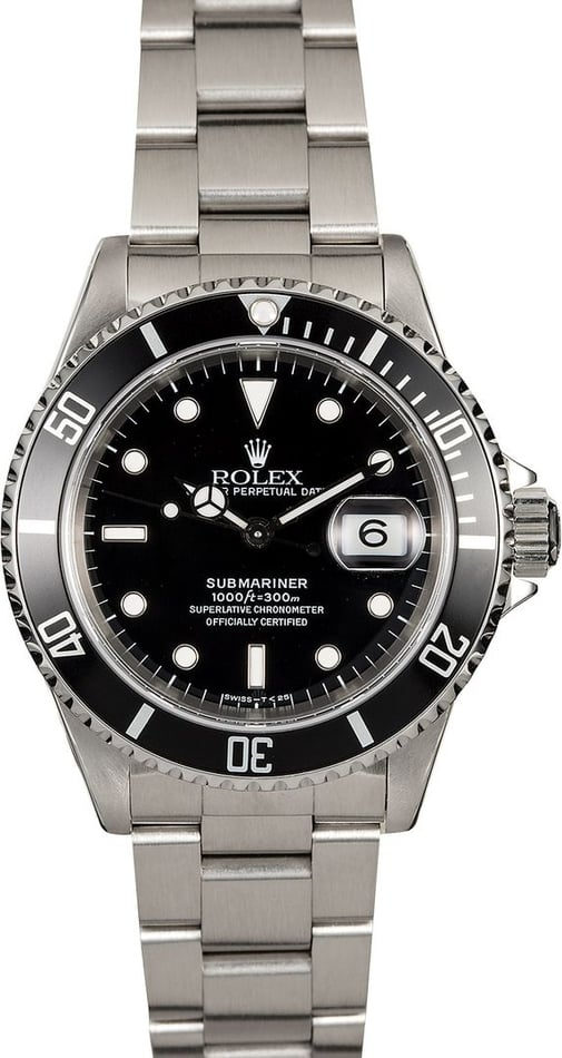 Certified Pre-Owned Rolex Submariner 16610 Stainless Steel