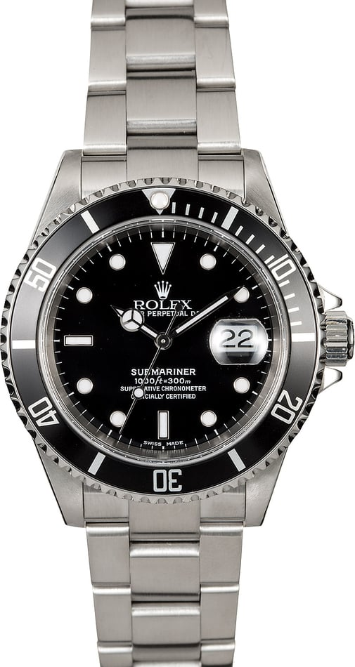 Certified Rolex Submariner 16610 Black Dial