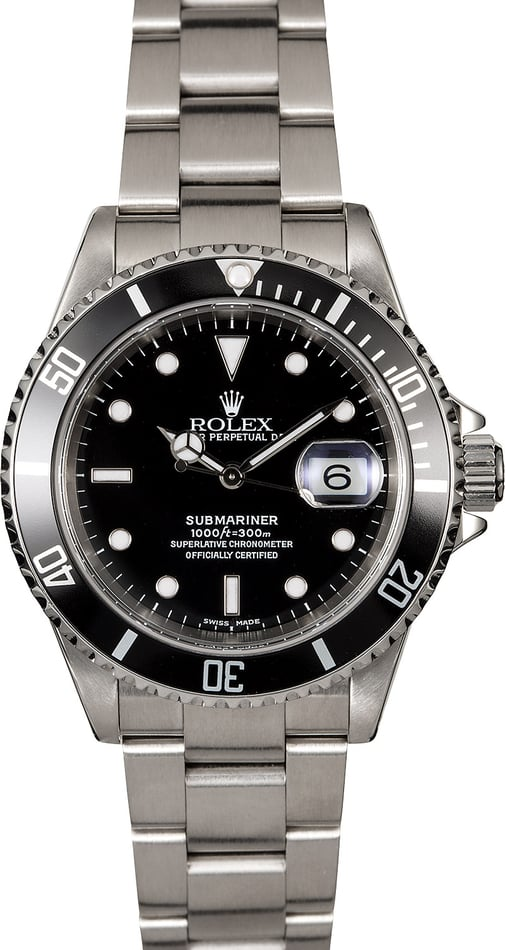 Pre-Owned Rolex Submariner 16610 Black Diving Bezel