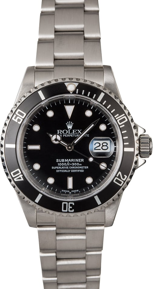 Certified Pre-Owned Rolex Submariner 16610 Oyster Perpetual Date TT