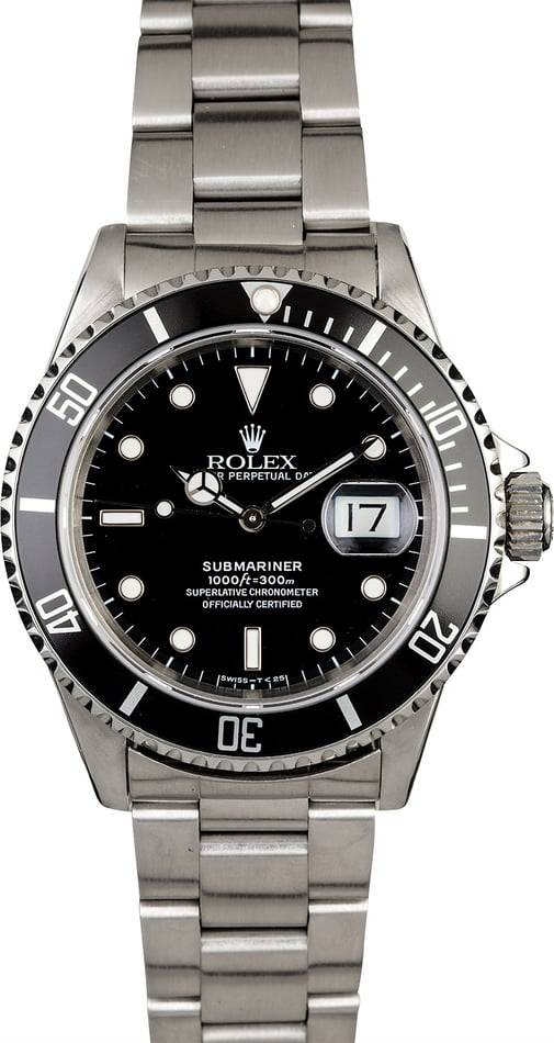 Certified PreOwned Rolex Submariner 16610 Steel