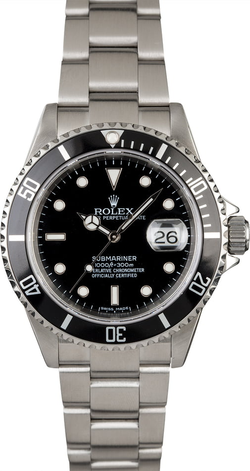 PreOwned Rolex Submariner 16610 No Holes Case