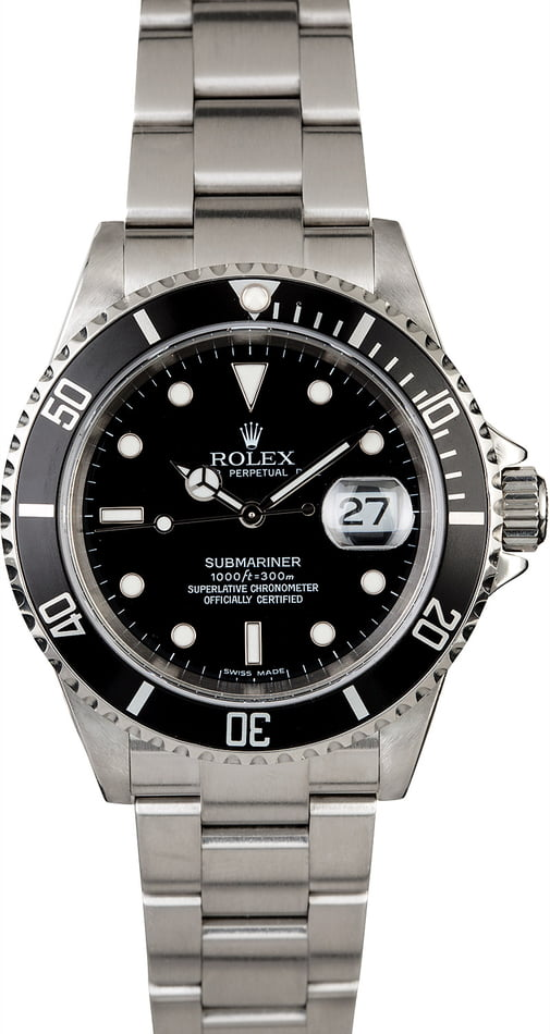 Men's Rolex Submariner 16610 No Holes Case