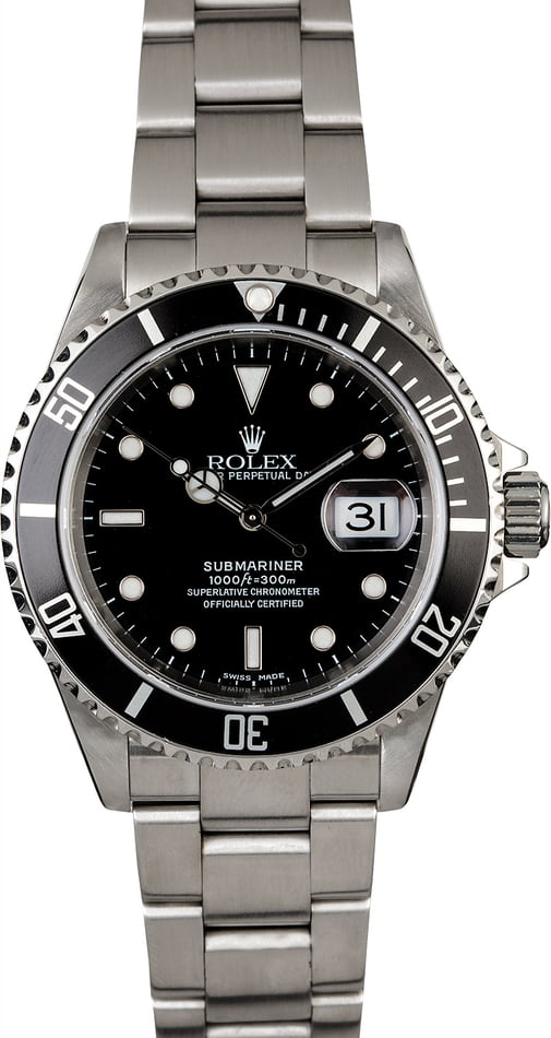 Certified Rolex Submariner 16610 Steel Oyster Band