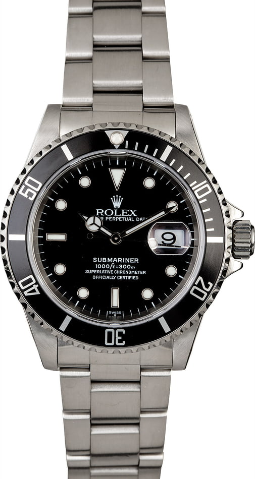 Rolex Black Submariner 16610 Men's Watch