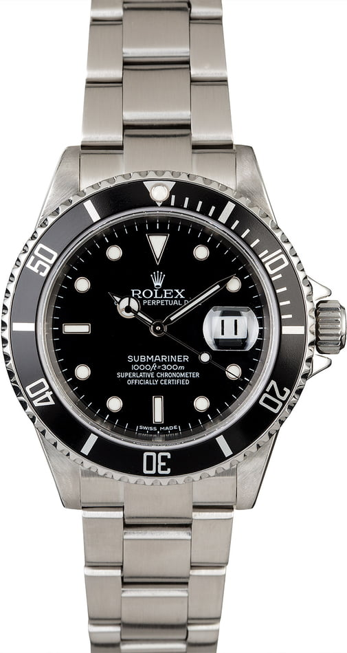Stainless Steel Rolex Submariner 16610 No Holes Case