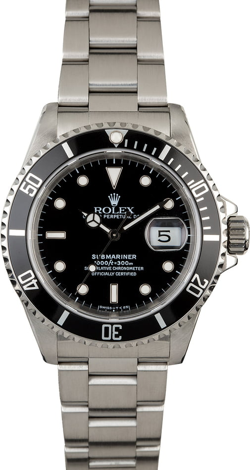Pre-Owned Rolex Submariner 16610 Black Bezel
