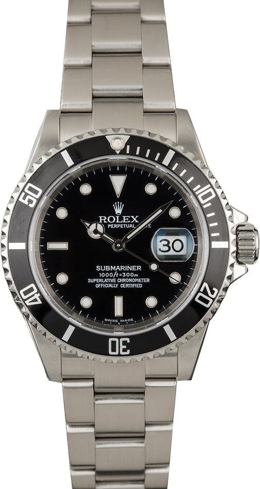 Certified Pre Owned Rolex Submariner 16610 Black