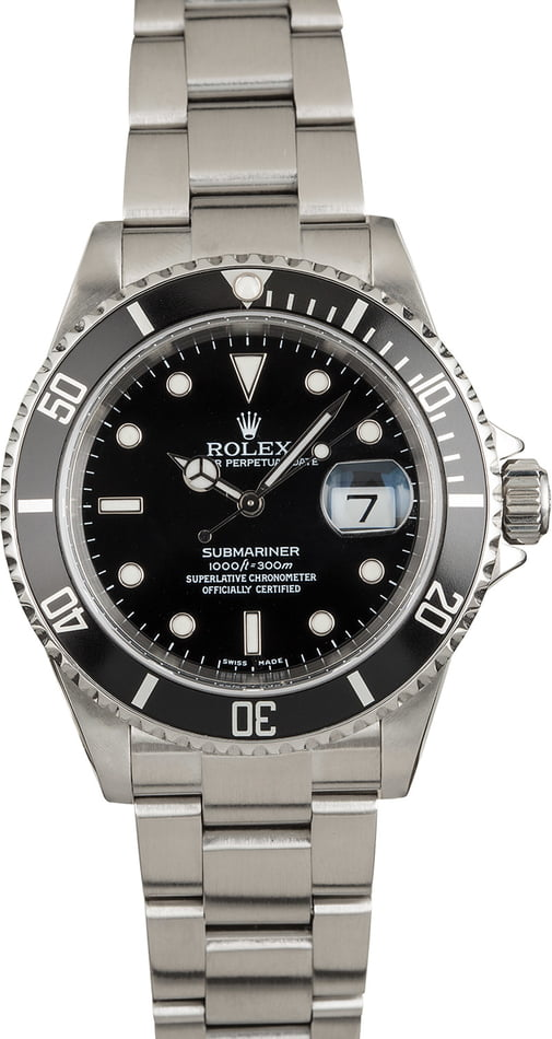 Pre Owned Rolex Submariner 16610 Black Steel Bezel
