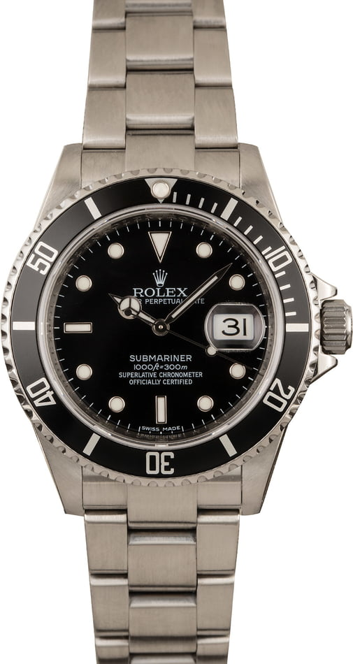 Pre-Owned Rolex Submariner 16610 Timing Bezel Watch T