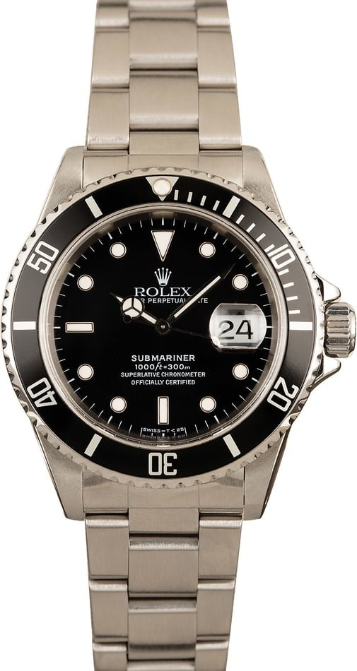 Used Stainless Steel Rolex Submariner 16610 Black Dial