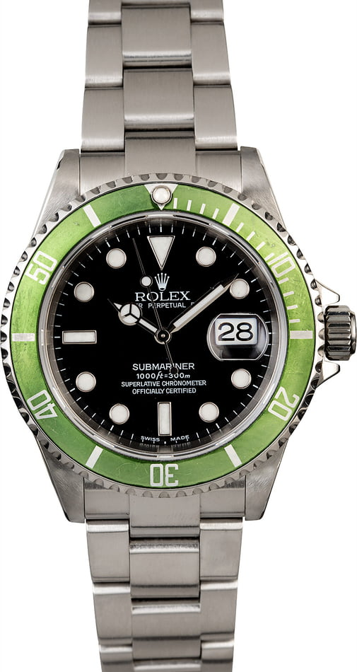 Men's Rolex Submariner 16610V Kermit Anniversary
