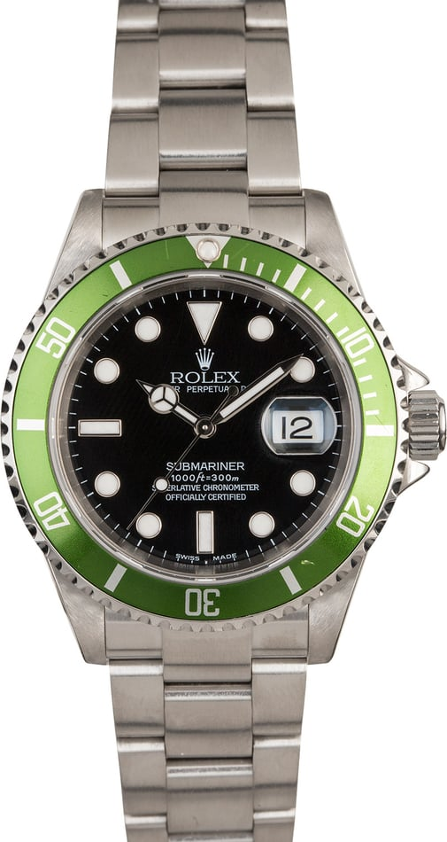 Rolex Submariner Green Anniversary 16610V Flat Four