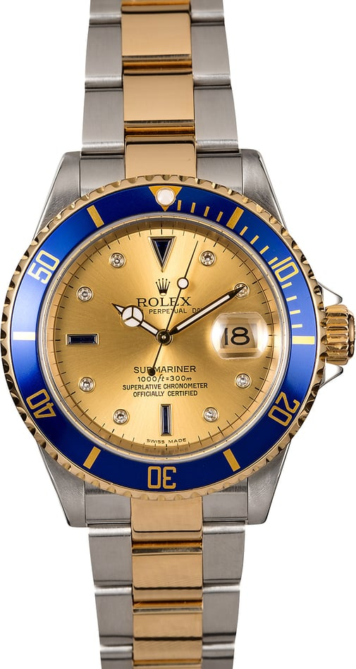 Rolex Submariner 16613 Two-Tone Serti