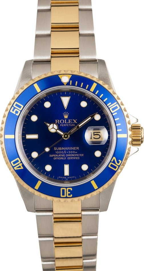 117192 x Pre-Owned Men's Rolex Submariner Two Tone with Blue Face Model 16613 3