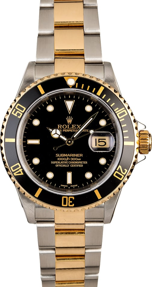 Rolex Submariner 16613 Gold Thru Clasp