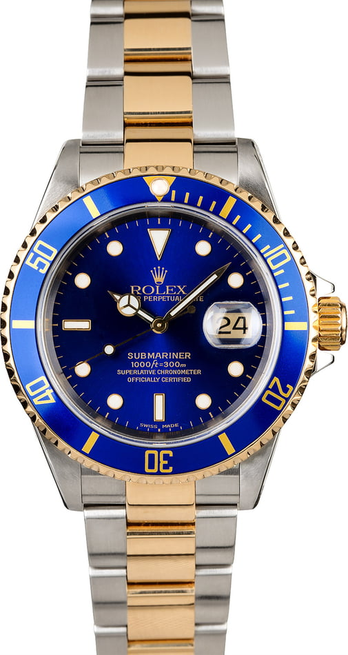 PreOwned Rolex Submariner 16613 Blue Dial