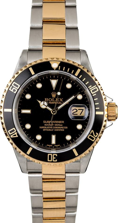 Rolex Submariner 16613 with Gold Thru Clasp