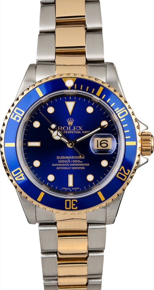 Pre-Owned Rolex Submariner 16613 Blue Dial