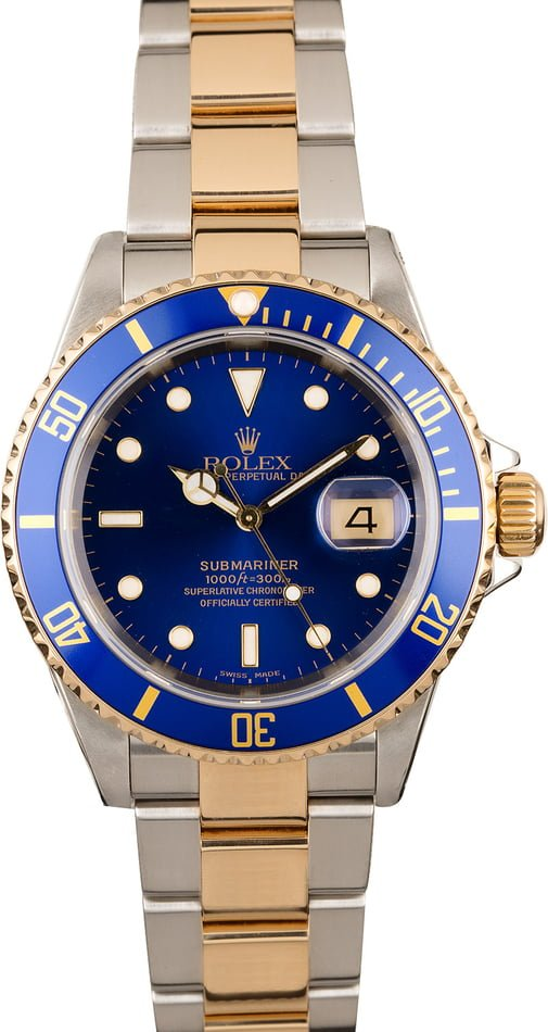 Certified PreOwned Rolex Submariner 16613 with Gold-Thru Clasp