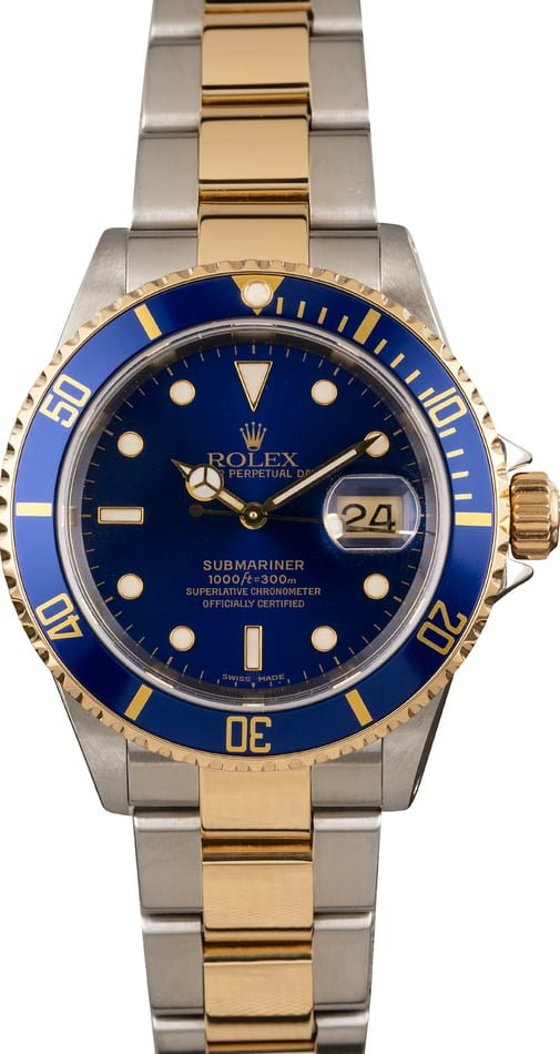 Used Rolex Blue Submariner 16613 Two Tone