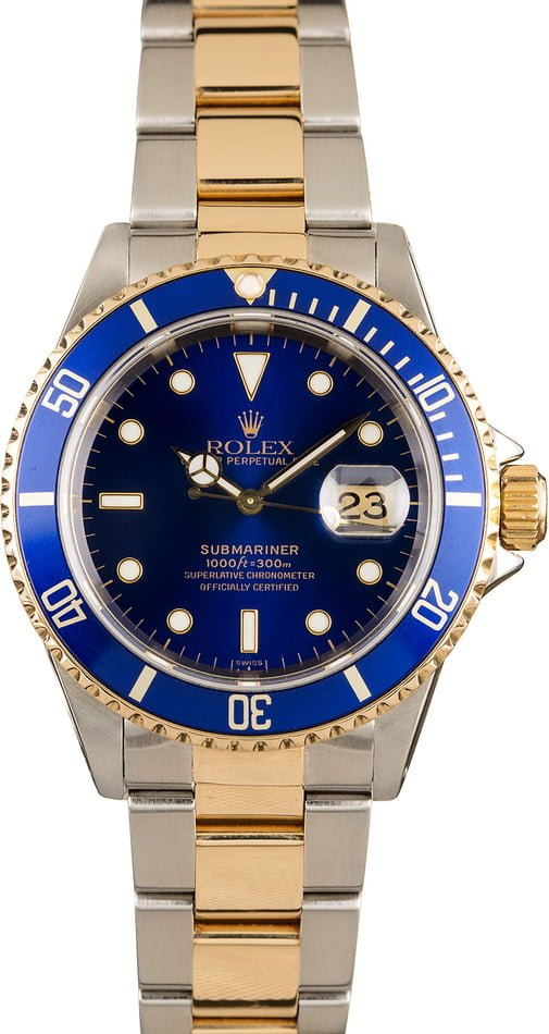 Rolex Submariner 16613 Blue and Gold Bezel