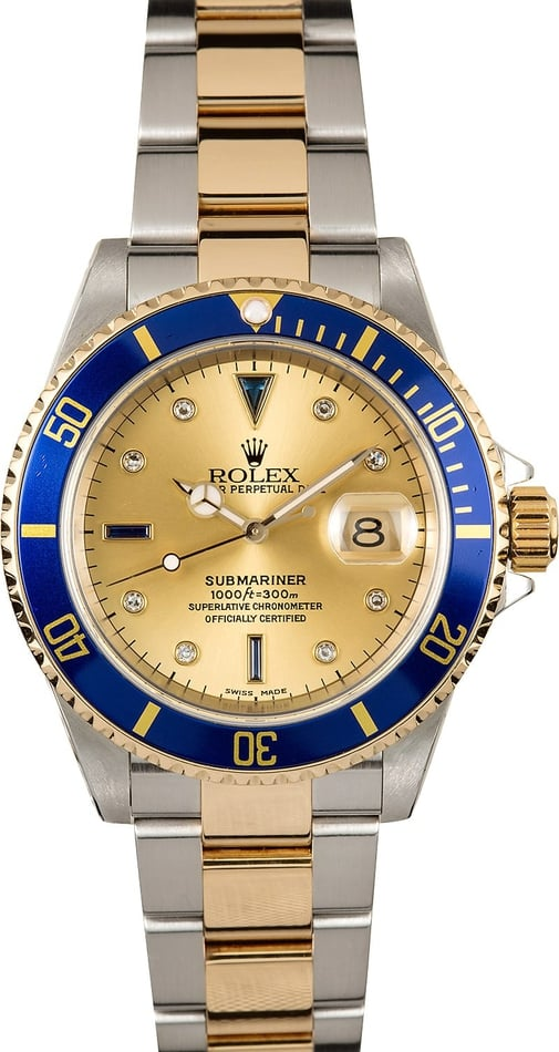 Rolex Submariner 16613 Blue Bezel Serti