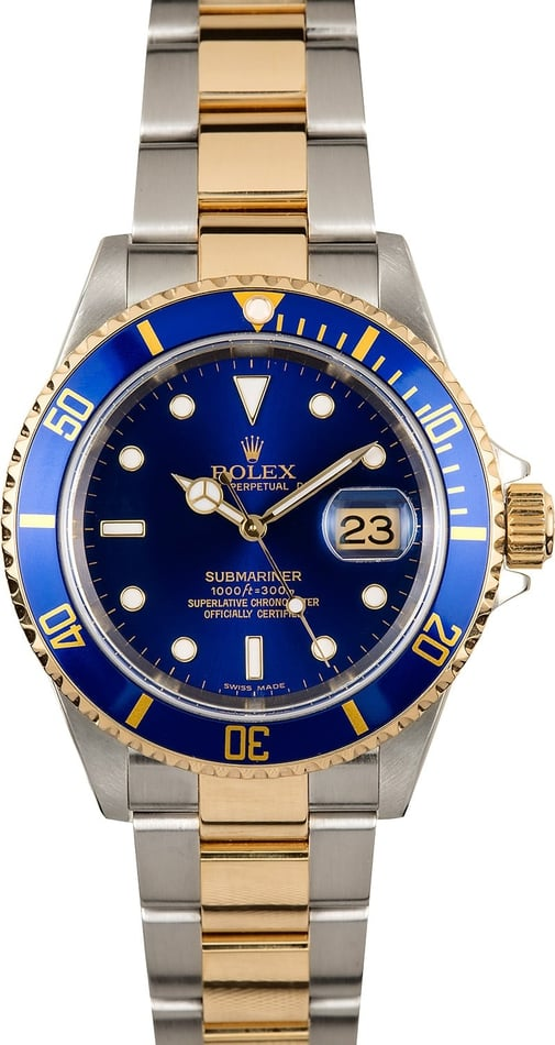 Rolex Submariner 16613T Blue 100% Authentic
