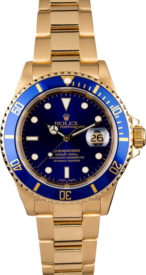 Rolex Submariner 16618 Blue Dial Yellow Gold Oyster