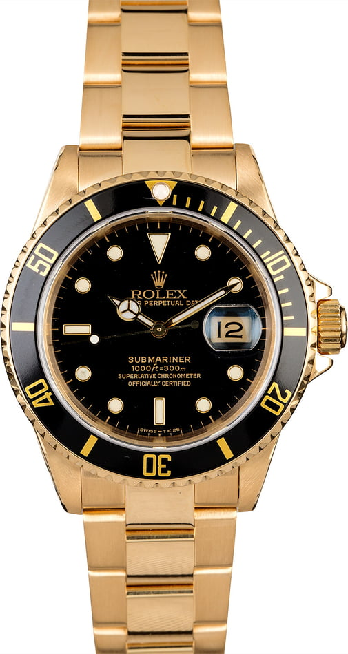 Rolex Submariner 16618 Yellow Gold Oyster Band