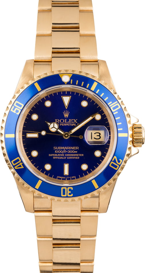 Rolex Yellow Gold Submariner 16618 Blue Dial
