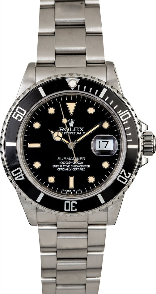 Men's Rolex Submariner 16800 Stainless Steel Oyster