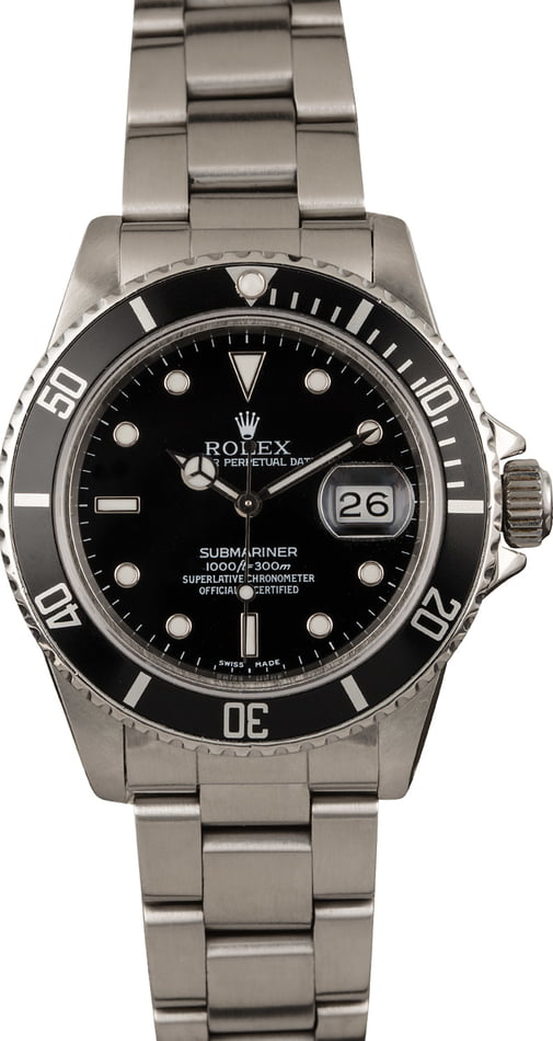 Pre-Owned Rolex Submariner 16800 Black Luminous Dial