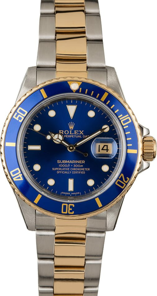 Rolex Submariner Ref 16803 Blue Dial Two Tone