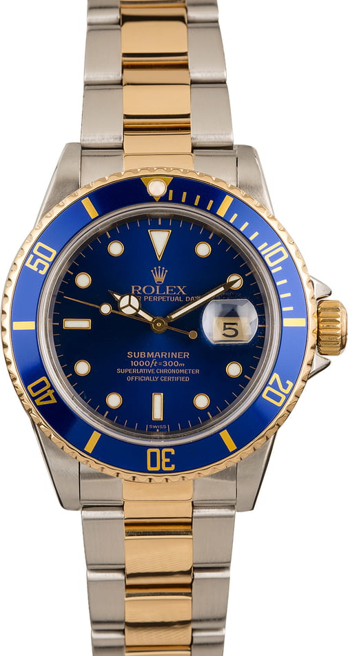 Used Rolex Submariner Ref 16803 Blue Dial Two Tone Oyster