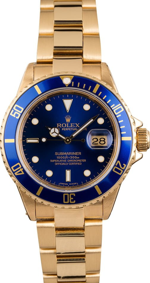 Pre Owned Rolex Submariner 16808 Sun Burst Blue Dial