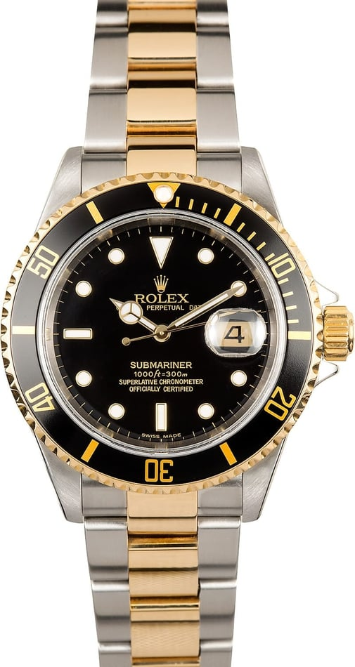 Rolex Submariner Black 16613 No Holes Case