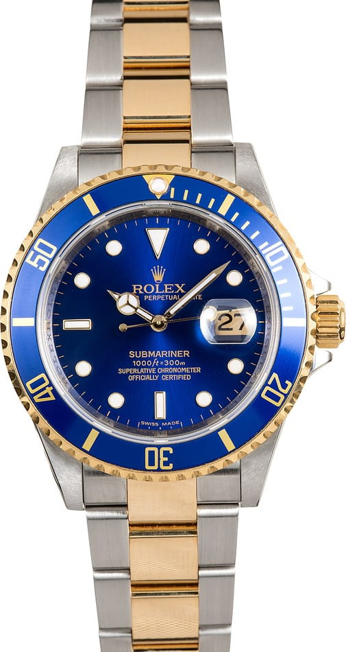 Rolex Submariner Blue 16613 Serial Engraved