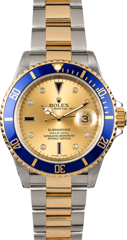 Rolex Submariner Blue 16613 Serti