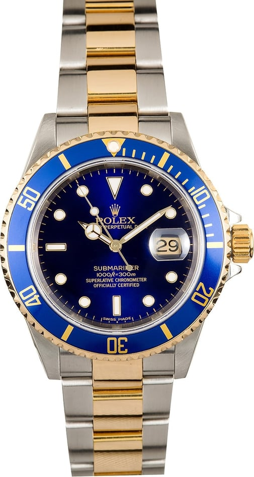Rolex Submariner Blue 16613 Two Tone Oyster
