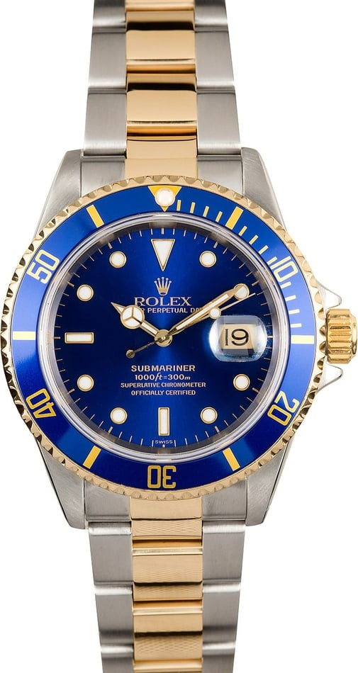 Rolex Submariner Blue Dial 16613 Two Tone
