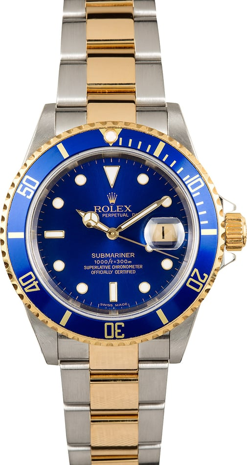 Rolex Submariner Blue Dial 16613T 100% Authentic
