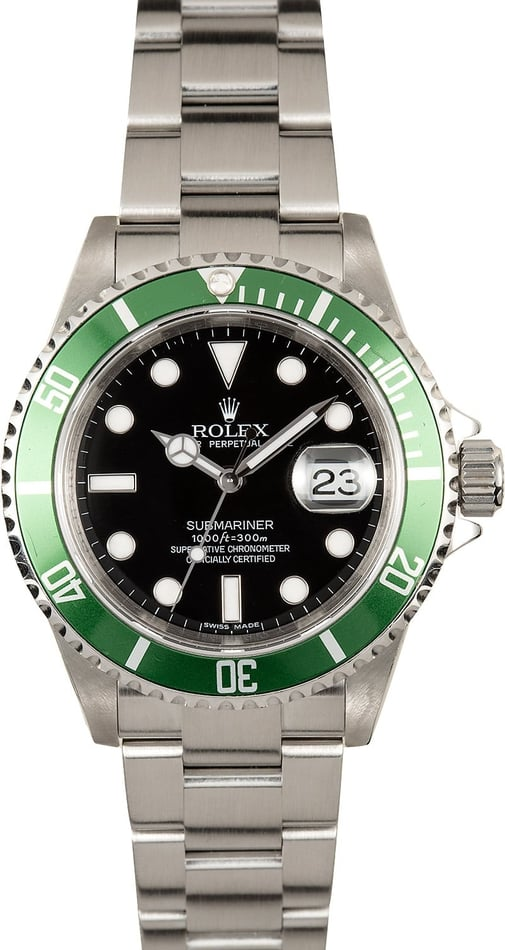Rolex Submariner Green Anniversary 16610V Serial Engraved