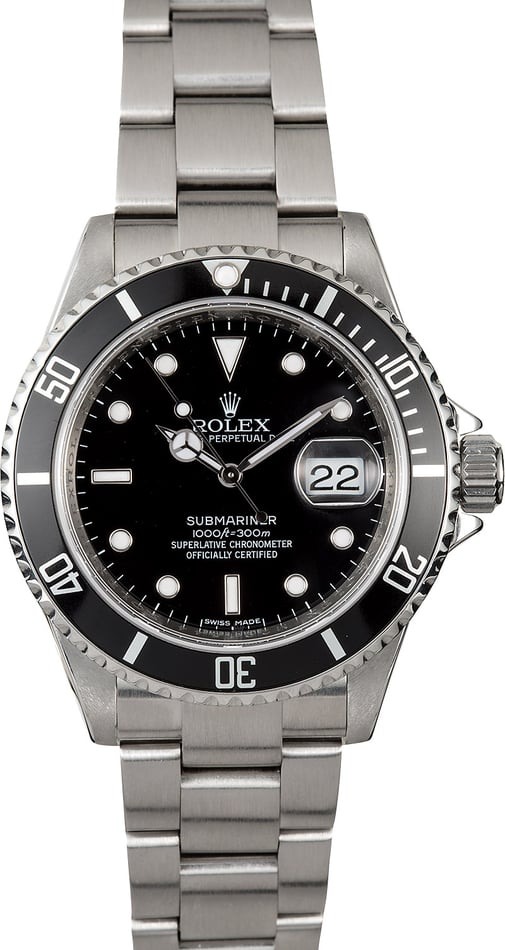 Rolex Submariner Stainless 16610 Serial Engraved