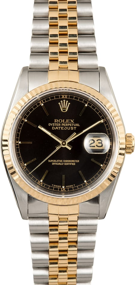 Rolex Two-Tone Datejust 16233 Black Dial