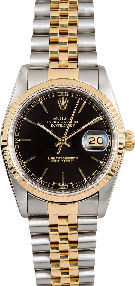 Rolex Two-Tone Datejust 16233 Black Index Dial