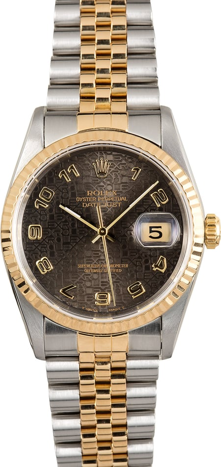 Rolex Two Tone Datejust 16233 Black Jubilee Dial