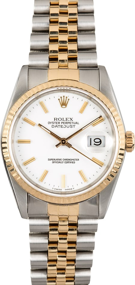 Rolex Two-Tone Datejust 16233 Index Dial